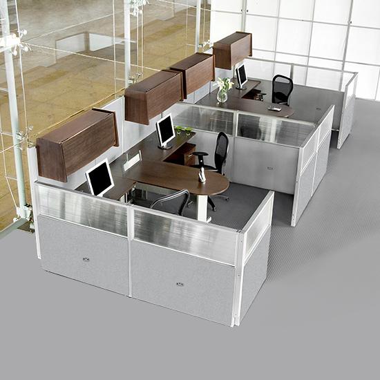 M dulos de trabajo 4 personas colima ofitek for Modulos de trabajo para oficina